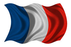 Flag of France wavy on white, fabric texture Royalty Free Stock Images