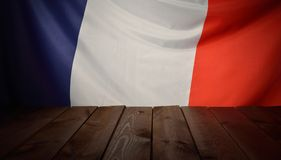 Flag of the France with wooden boards. Stock Photos