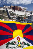 Flag of Free Tibet - Potala Palace Stock Photo