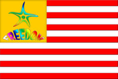 Flag of Freedom. American Flag with Colorful Funny Marine Star and Freedom Inscription. Good for greeting Independence Day Stock Photos