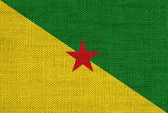 Flag of French Guiana on old linen Stock Image