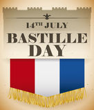 Flag with Fringes in a Retro Poster with Bastille Day Date, Vector Illustration. Poster in retro style remembering the Storming of the Bastille with a French vector illustration