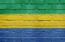 Flag of Gabon on brick wall Stock Photos