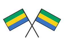 Flag of Gabon. Stylization of national banner. Simple vector illustration with two flags. Flag of Gabon. Stylization of national banner. Simple vector Stock Photo