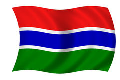 Flag of gambia. Waving flag of gambia Stock Illustration