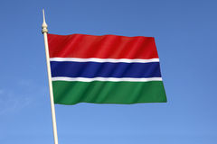 Flag of the Gambia. Adopted in 1965 to replace the British Blue Ensign and the arms of the Gambia Colony and Protectorate, it has been the flag of the stock photography