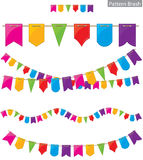 Flag garland. Pattern brash colored flag garland Stock Images