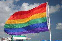 Flag. Gay flag on the famous beach of Miami Beach in Florida Royalty Free Stock Photo