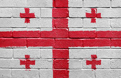Flag of Georgia on brick wall Stock Photography