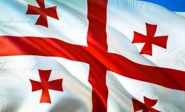 Flag of Georgia. 3D Waving flag design. The national symbol of Georgia, 3D rendering. National colors of Georgia 3D Waving sign. Background design.CIS 3D ribbon royalty free stock photo