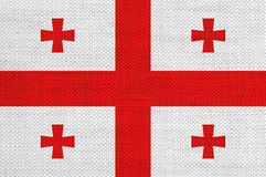 Flag of Georgia on old linen. Colorful and crisp image of flag of Georgia on old linen Stock Photo