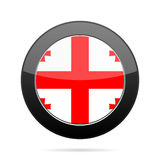 Flag of Georgia. Shiny black round button. Royalty Free Stock Image