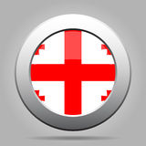 Flag of Georgia. Shiny metal gray round button. Royalty Free Stock Image