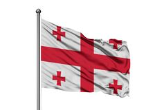 Flag of Georgia waving in the wind, isolated white background. Georgian flag.  royalty free stock image