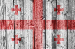 Flag of Georgia on weathered wood. Colorful and crisp image of flag of Georgia on weathered wood Stock Images