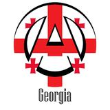 Flag of Georgia of the world in the form of a sign of anarchy royalty free illustration