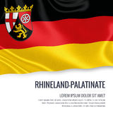 Flag of German state Rhineland-Palatinate waving on an isolated white background. State name and the text area for your message. Stock Photography