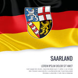 Flag of German state Saarland waving on an isolated white background. State name and the text area for your message. Royalty Free Stock Images
