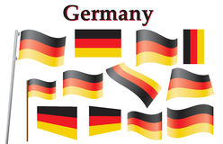 Flag of Germany. Set of German flags vector illustration Royalty Free Stock Photos