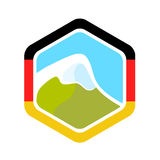 Flag of Germany and Alpine Mountain Stock Photos