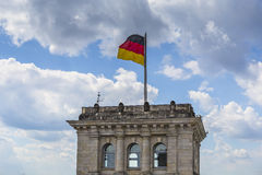 The Flag of Germany blowing in the wind Stock Images