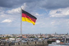 The Flag of Germany blowing on the wind Royalty Free Stock Images