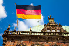 Flag of Germany, Bremen Townhall. German flag on the townhall in Bremen. World Heritage Site Royalty Free Stock Image