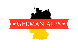 Flag of Germany with Caption - German Alps Royalty Free Stock Images