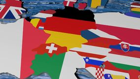 Flag of Germany on 3d map vector illustration