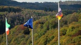 Flag of Germany, European Union, North Rhine-Westphalia waving stock footage