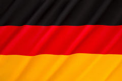Flag of Germany. First adopted as the national flag of modern Germany in 1919, during the Weimar Republic. Since reunification on 3rd October 1990, the black royalty free stock images