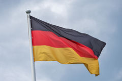 The flag of Germany fluttering on wind. Royalty Free Stock Photos