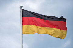 The flag of Germany fluttering on wind. Royalty Free Stock Photography