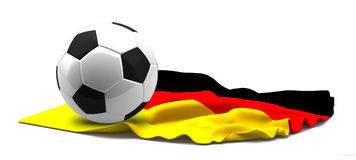 Flag of Germany and football soccer ball. 3d rendering isolated Royalty Free Stock Photo