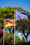 Flag of Germany or German Flag and blue Flag of the European Uni Royalty Free Stock Photo