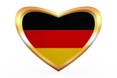Flag of Germany in heart shape, golden frame Stock Photography