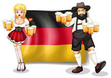 The flag of Germany with a man and a woman. Illustration of the flag of Germany with a man and a woman on a white background Stock Photos