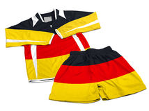 Flag from Germany on nylon soccer sportswear clothes Stock Image