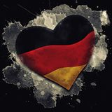 Flag of Germany. Watercolor on black background royalty free illustration