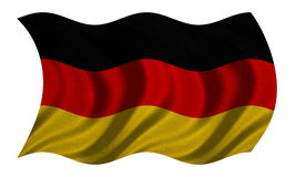 Flag of Germany wavy on white, fabric texture Royalty Free Stock Image