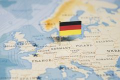The Flag of germany in the world map.  royalty free stock image