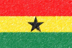 Flag of Ghana background o texture, color pencil effect. Stock Photography