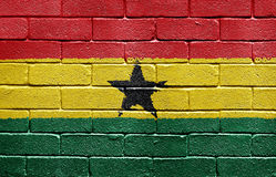 Flag of Ghana on brick wall Stock Photos