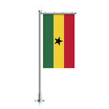 Flag of Ghana hanging on a pole. Stock Images