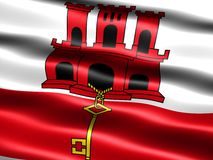 Flag of Gibraltar. Computer generated illustration of the flag of Gibraltar with silky appearance and waves stock illustration
