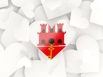 Flag of gibraltar, heart shaped stickers. Background. 3D illustration Royalty Free Stock Images