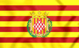Flag of Girona Province, Spain. 3D Flag of Girona Province, Spain. Close Up Royalty Free Stock Photos