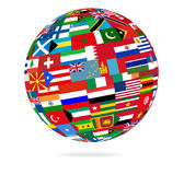 Flag globe. Illustration of a globe covered with flags.vector file is available Stock Photos