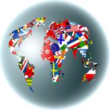 Flag globe Royalty Free Stock Photography