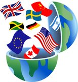 Flag globe vector illustration